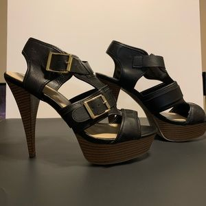 Black Open Toe Heels with Gold Buckles